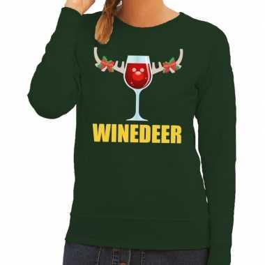 Foute foute kersttrui winedeer groen voor dames