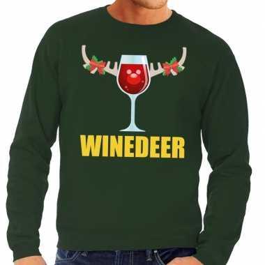 Foute foute kersttrui winedeer groen voor heren