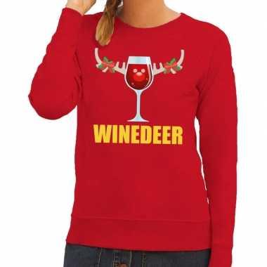 Foute foute kersttrui winedeer rood voor dames