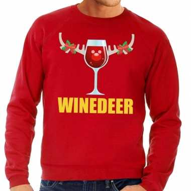 Foute foute kersttrui winedeer rood voor heren