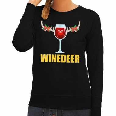 Foute foute kersttrui winedeer zwart voor dames