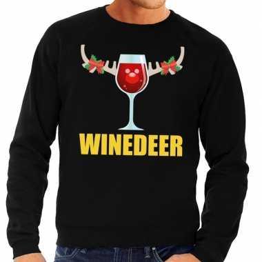 Foute foute kersttrui winedeer zwart voor heren