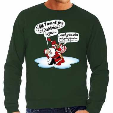 Foute foute kersttrui zingende kerstman met gitaar groen voor heren