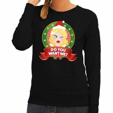 Foute foute kersttrui zwart do you want me voor dames