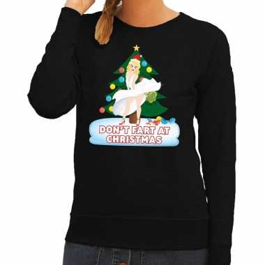 Foute foute kersttrui zwart dont fart at christmas voor dames