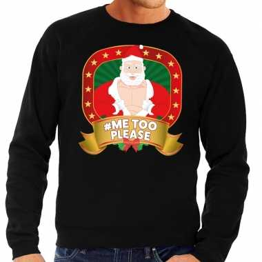 Foute foute kersttrui zwart hashtag me too please voor heren