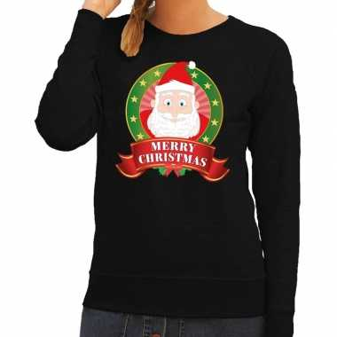 Foute foute kersttrui zwart kerstman merry christmas voor dames