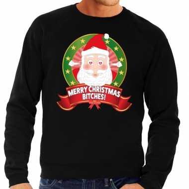 Foute foute kersttrui zwart merry christmas bitches voor heren