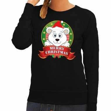 Foute foute kersttrui zwart merry christmas ijsbeer voor dames