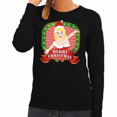 Foute foute kersttrui zwart merry christmas kerstvrouw voor dames