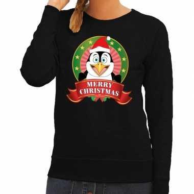 Foute foute kersttrui zwart merry christmas pinguin voor dames