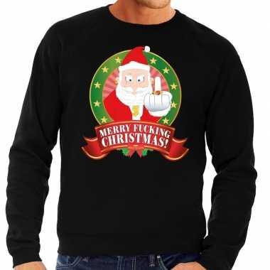 Foute foute kersttrui zwart merry fucking christmas voor heren