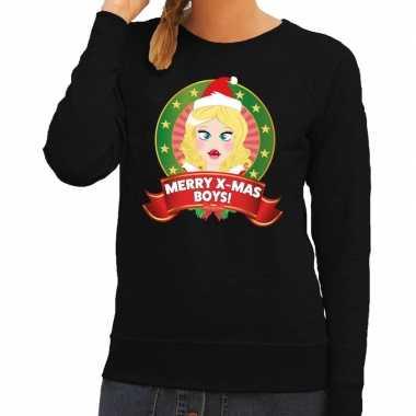 Foute foute kersttrui zwart merry x mas boys voor dames