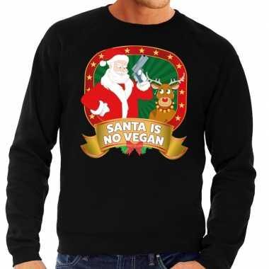 Foute foute kersttrui zwart santa is no vegan voor heren
