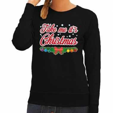 Foute foute kersttrui zwart take me its christmas voor dames