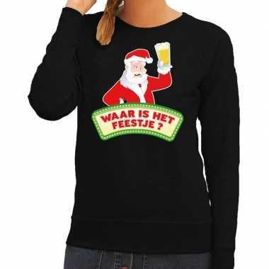 Foute foute kersttrui zwart waar is het feestje voor dames