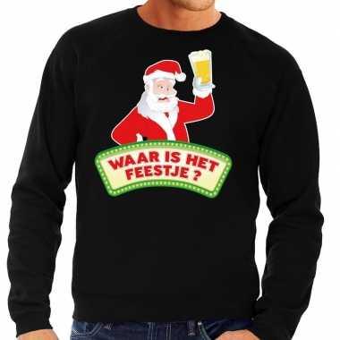 Foute foute kersttrui zwart waar is het feestje voor heren