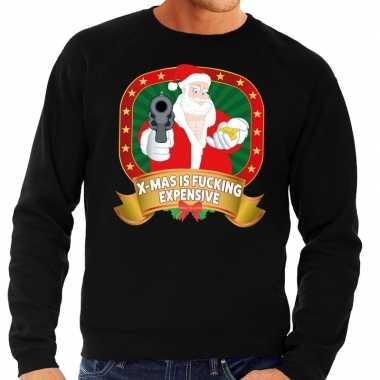 Foute foute kersttrui zwart x mas is fucking expensive voor heren