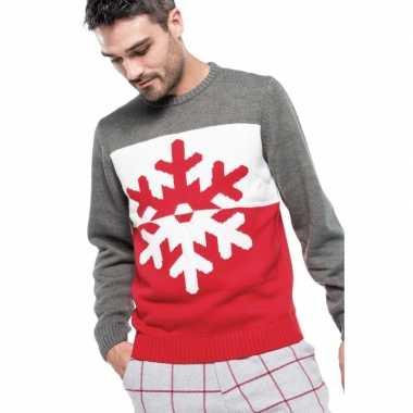 Foute gebreide foute kersttrui grijs/rood met sneeuwvlok voor heren