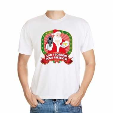 Foute kerst t shirt wit can i borrow some presents voor heren