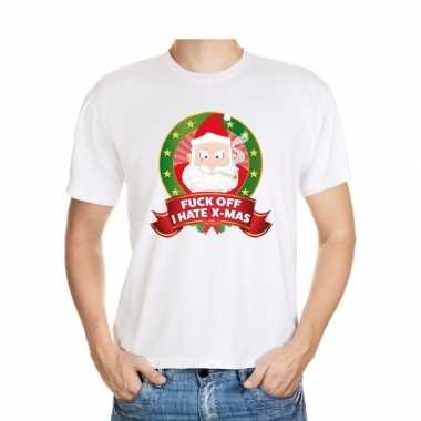 Foute kerst t-shirt wit fuck off i hate x mas heren