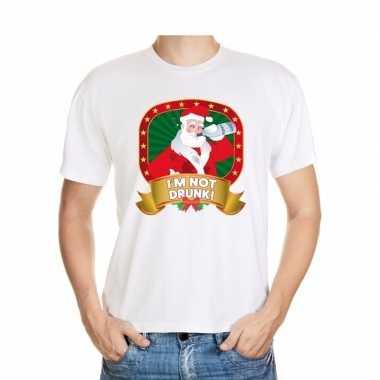 Foute kerst t shirt wit im not drunk voor heren