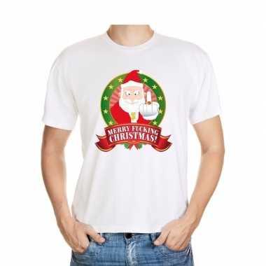 Foute kerst t-shirt wit merry fucking christmas voor heren