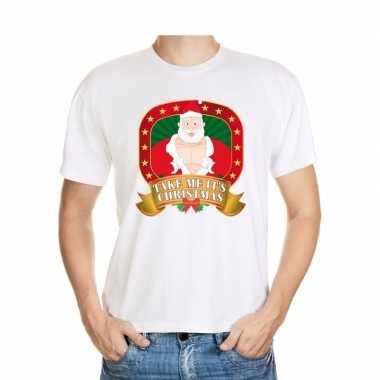 Foute kerst t shirt wit take me it's christmas