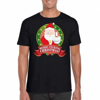 Foute kerst t shirt zwart merry fucking christmas voor heren