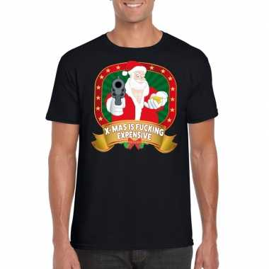 Foute kerst t shirt zwart x mas is fucking expensive voor heren