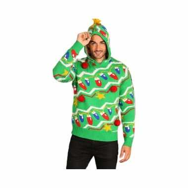 Foute kersttrui groen met capuchon voor heren