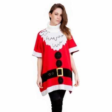 Foute kersttrui kerstman dames poncho