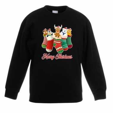 Foute kersttrui kerstsokken merry christmas zwart voor kinderen