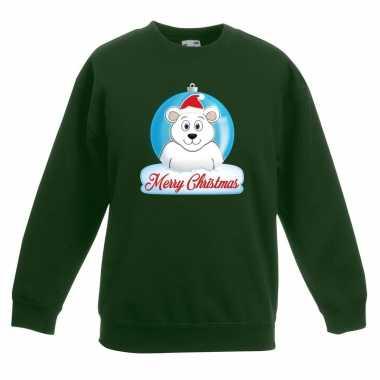 Foute kersttrui merry christmas ijsbeer kerstbal groen kinderen
