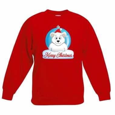 Foute kersttrui merry christmas ijsbeer kerstbal rood kinderen