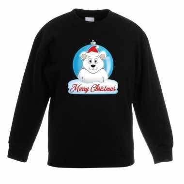 Foute kersttrui merry christmas ijsbeer kerstbal zwart kinderen