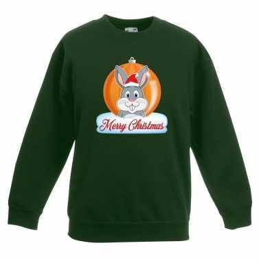 Foute kersttrui merry christmas konijn kerstbal groen kinderen