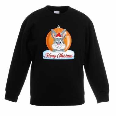 Foute kersttrui merry christmas konijn kerstbal zwart kinderen