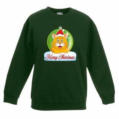 Foute kersttrui merry christmas oranje kat / poes kerstbal groen kind