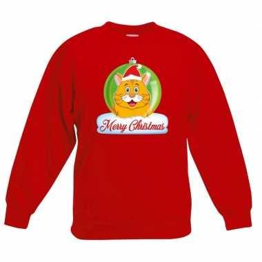 Foute kersttrui merry christmas oranje kat / poes kerstbal rood kinde