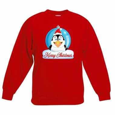 Foute kersttrui merry christmas pinguin kerstbal rood kinderen