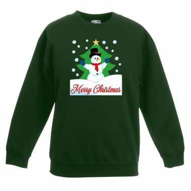 Foute kersttrui merry christmas sneeuwpop groen kinderen