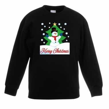 Foute kersttrui merry christmas sneeuwpop zwart kinderen
