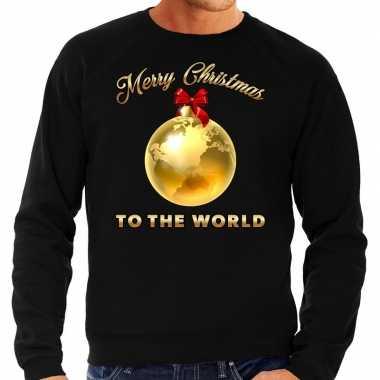 Foute kersttrui merry christmas to the world goud glitter zwart heren