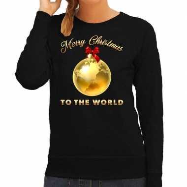 Foute kersttrui merry christmas to the world zwart dames