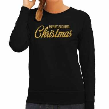 Foute kersttrui merry fucking christmas goud glitter zwart dames