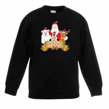 Foute kersttrui met de kerstman en zijn vriendjes zwart kinderen