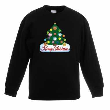 Foute kersttrui met dieren kerstboom zwart kinderen