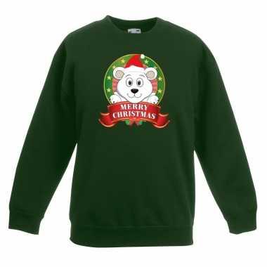 Foute kersttrui met een ijsbeer groen jongens en meisjes