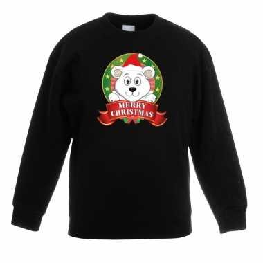 Foute kersttrui met een ijsbeer zwart jongens en meisjes